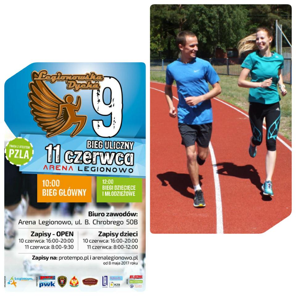 trenerzy biegania Kamila i Emil Dobrowolscy poprowadzą trening biegowy przed Legionowską Dychą na Stadionie Miejskim Legionowo