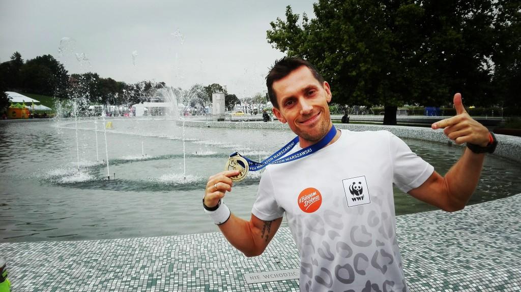 Damian Falandysz zawodnik trenujący pod okiem Emila po maratonie - Warszawa