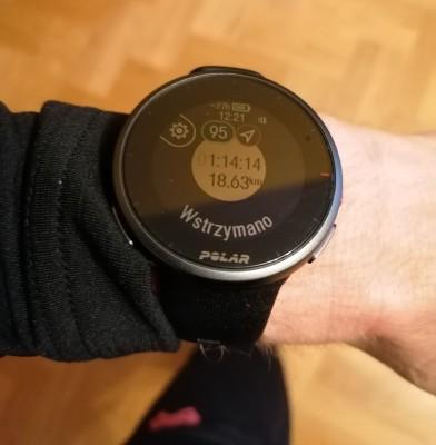 Zegarek Polar Vantage V2 - tarcza pozatrzymaniu treningu poaktualizacji